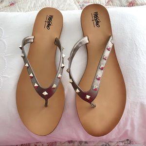 Silver Studded Flip Flops Size 11